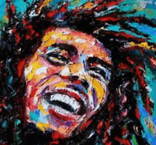 """Bob Marley Abstract Oil Style Wall Art Canvas Print 16"""" X 16"""" solid frame"""