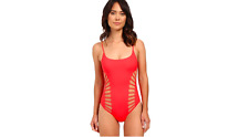 RED CARTER SPLICE & DICE CUT OUT ONE PIECE SWIMSUIT PINK SIZE 8 MEDIUM NEW! $155