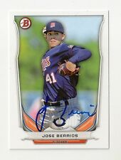2014 JOSE BERRIOS BOWMAN DRAFT TOP PROSPECTS AUTOGRAPH SIGNED IN PERSON TWINS