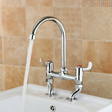Swan Neck Kitchen Sink Double Faucet Twin Lever Handle Mixer Bridge Tap Chrome