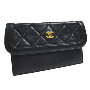CHANEL Quilted CC Mini Multi Pouch Purse Black Authentic 38095