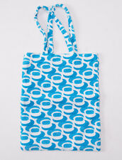 New KITON NAPOLI Aqua Blue Printed Terry Cloth Small Beach-Pool Tote Bag