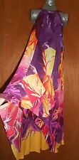 JENIFER LOPEZ New MAXI DRESS Size S Ruffle Hi-Lo Purple YELLOW HALTER FLORAL
