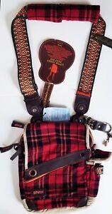 Loop PARCEL red black plaid LITTLE JIMMY DAILY crossbody shoulder BAG + opener