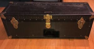 """Antique Vintage C.A Malm & Co. Steamer Trunk Train Car Baggage w/Key 35""""x12""""x12"""""""