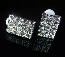 NEW! Silver Tone Clear Crystal Clip On Earrings