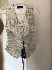 DOLCE & GABBANA Vest Top Blouse Silk Jaquard Floral Print IT42/US8/M RRP $600