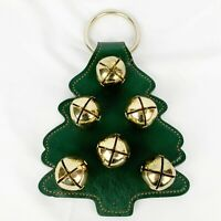 Belsnickel 6 Bell Green Gold Christmas Tree Door Wall Hanger USA Made Bells 8 in