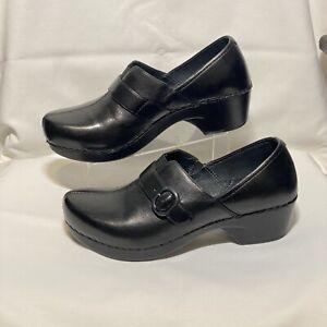 DANSKO WOMEN'S BLACK LEATHER CLOGS / SHOES,, Sz US 8.5 - 9 M // EUR 39 , EUC*