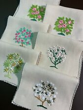 9 INCREDIBLE & BEAUTIFUL MADEIRA VINTAGE COCKTAIL NAPKINS - EMBROIDERED FLOWERS
