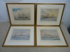 4 Framed J.S. Virtue Lithographs - HMS Magicienne Colossus Victoria Undaunted