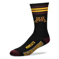 For Bare Feet Minnesota Golden Gophers Black 504 4 Stripe Deuce Crew Socks