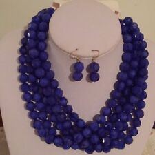 Navy Blue Four strand faceted Lucite bead necklace earring Set