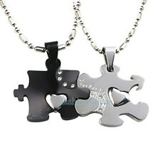 """Matching Stainless Steel """"Just For You"""" Couple's Puzzle Pendant Necklaces Black"""