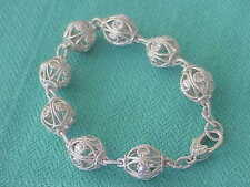 """JUDITH RIPKA SIGNED STERLING SILVER CZ BALL CABLE 8"""" BRACELET"""