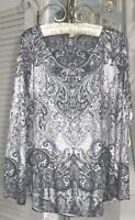 NEW Plus Size 2X Gray Sweater Silver Stud Tunic Top
