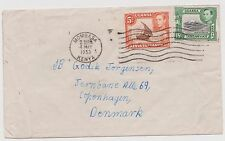 KUT: 1938-52 KGVI 5c & 15c on 1953 commercial cover to Denmark ST192