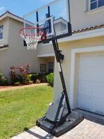 "SPALDING 54"" PORTABLE BASKETBALL System Adjustable Hoop Backboard Angled Pole"