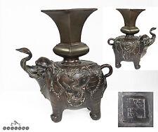 Chinese 19th Secolo Bronzo Elefante & VASO incenso titolare + GUARNIZIONE Mark
