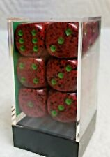 Dice - Chessex 16mm Speckled Strawberry w/Green Pips - Box of 12 - Yummy Colors!