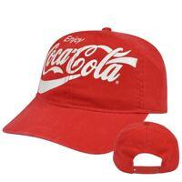 Enjoy Coca Cola Garment Wash Pop Soda Drink Adjustable Snapback Curved Bill Hat