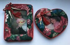 2 Padded Floral Fabric Picture Photo Frames Heart + Rectangle Tassels, Rosettes