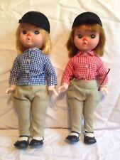 "Vintage Rare Plastic Clown Horse Jockey Rider Dolls doll 11"" checkered shirt"
