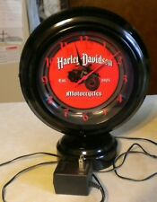 """ACE PRODUCT INC. """"HARLEY DAVIDSON MOTORCYCLES"""" CLOCK WITH LIGHT - RUNS WELL"""