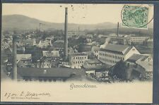 1904 Grossschonau Germany PPC View of Factory TCV stamp on front railroad cancel