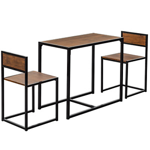 Small Kitchen Dining Table w/ 2 Chairs Set Space Saver Furniture Bar Breakfast