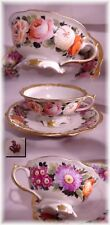 1800s HAND PAINTED FLORAL PEDESTAL TEA CUP AND SAUCER ROYAL CROWN DERBY