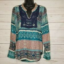 VAN DEN BERGH For Friends Women's Boho Chic Peasant Tunic Sz Med Blue Teal Navy