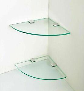 2 x Glass Corner Floating Storage shelves Shelf Bath Shop