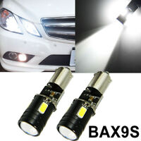 2x White Error Free BAX9S 64132 H6W LED Bulbs for Euro Parking Position Lights