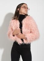 Abrigo de mujer con suave pelo sintético en color rosa