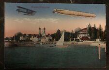 Original Zeppelin In Flight Picture Postcard Mint At Friedrichshafen