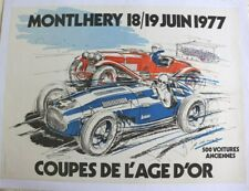 AFFICHE AUTOMOBILE circuit LINAS MONTHLERY 1977 coupe âge d'or ALFA ROMEO TALBOT