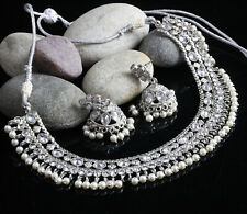 Silver Plated Indian Fashion Jewelry Diamond Necklace Earring Set Party Wedding