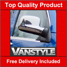 VW T5 TRANSPORTER CHROME DOOR WING MIRROR COVERS TRIM SET SURROUNDS CADDY 03-09