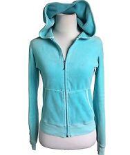 JUICY COUTURE Track Jacket Womens Velour Medium Blue Vetements Hoodie Zip Front