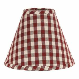 Lamp Shade 10 inch Barn Red & Tan Check Country Primitive Decor Ring Clip Style