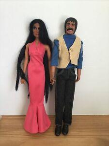 Vintage 1975 1976 Mego Sonny And Cher Dolls