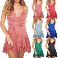 Womens Sleeveless Mini Dress Bodycon Strappy Ruffle Wrap Summer V-Neck Sundress
