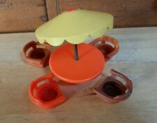 Vintage Fisher Price Little People Picnic Red  Table  Yellow Umbrella & Chairs