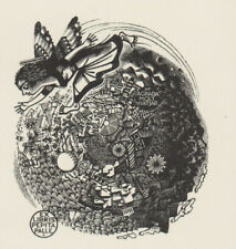 Mark SEVERIN (B) 1906-1987 Exlibris Palle Butterfly Angel Wood Engraving #228