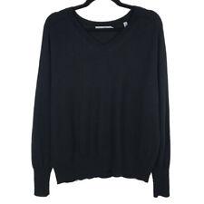 Vince Womens Black Linen Cashmere V Neck Sweater Size Large