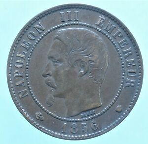 FRANCIA NAPOLEONE III 10 CENTIMES 1856 MONETE DA COLLEZIONE BRONZO COIN CURRENCY