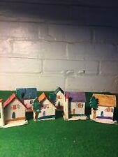 Vintage Christmas Miniature Cardboard Houses Putz Village Made In Japan 1940'S
