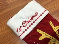 Pottery Barn Kids Christmas Stocking Quilted Red Reindeer Baby 1st Christmas NEW