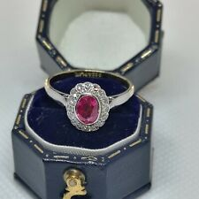 Antique 18ct Yellow Gold & Platinum Diamond And Ruby Cluster Ring